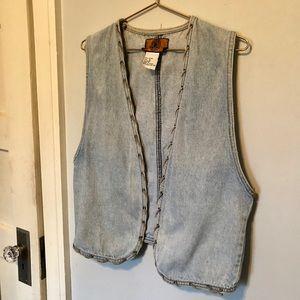Vintage Light Denim Vest with Lace-up Details